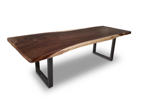Modern live edge wood dining table with black metal legs