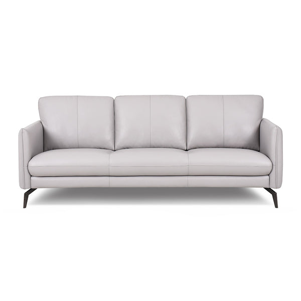 modern light grey leathr sofa