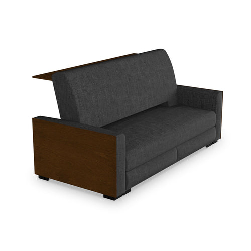 modern walnut finished grey fabric sofa bed with bar