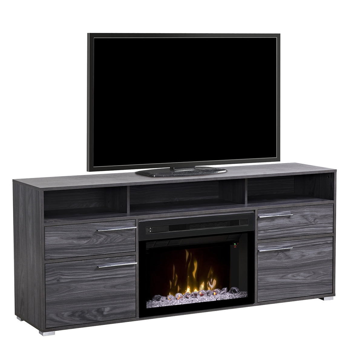 Grey modern electric fireplace media unit