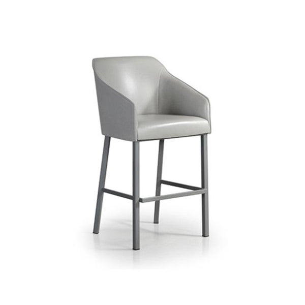 Light grey modern upholstered counter stool with arms and metal legs