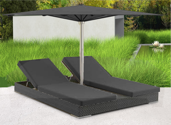 Modern charcoal two person outdoor day bed
