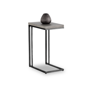 Modern C shaped end table with concrete top and metal base