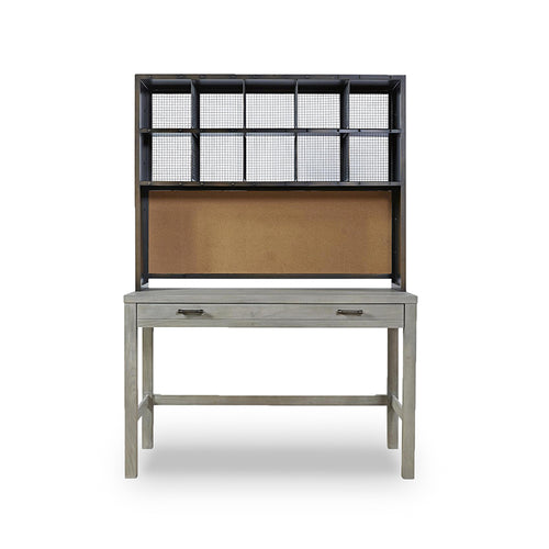 modern rustic granite grey stained desk with dark bronze metal hutch