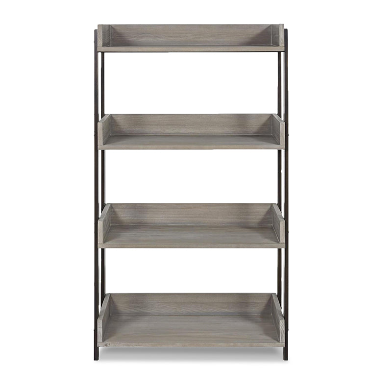 modern rustic granite grey stained 4 shelf bookcase with dark metal frame
