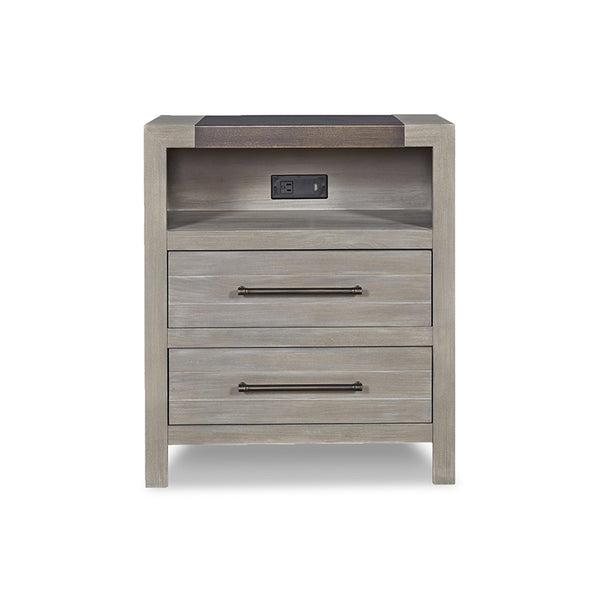 modern rustic granite grey stained night stand with 2 drawers, shelf with plug and USB port and dark bronze top detail and pulls
