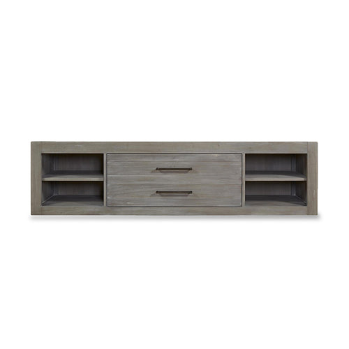 modern rustic granite grey stained media storage unit with dark bronze pulls
