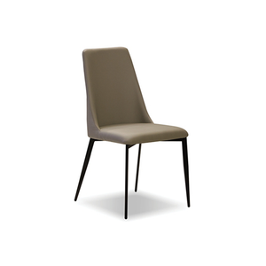 modern taupe leatherette dining chair with high back and graphite steel leg