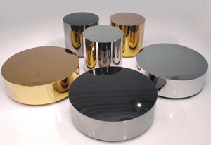 Polished stainless steel round modern coffee table