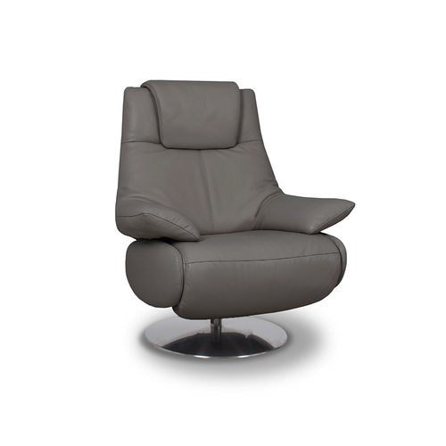 modern graphite grey top grain leather power reclining TV Chair with round polished metal base