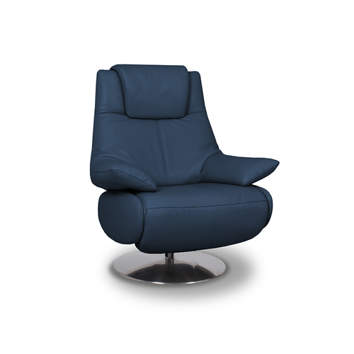 modern navy blue top grain leather power reclining TV Chair with round polished metal base