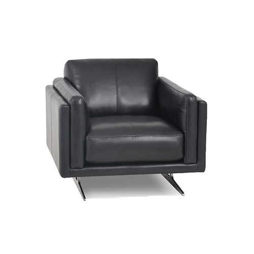 modern black leather arm chair with Blade Legs