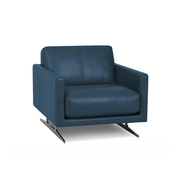modern dark denim blue leather arm chair with Blade Legs