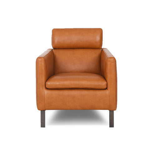 modern saddle brown leather club arm chair with wood Legs