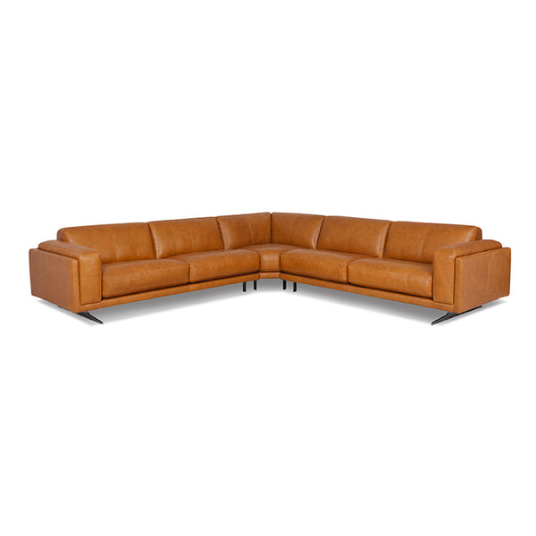 modern brandy brown leather arm chair with Blade Legs