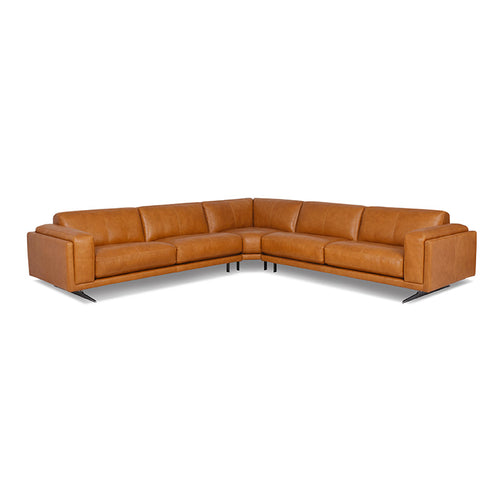 modern brandy saddle brown sectional with Blade Legs