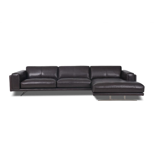 modern black leather sofa chaise with Blade Legs