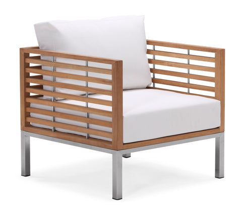 White modern batyline outdoor armchair with teak and stainless steel frame