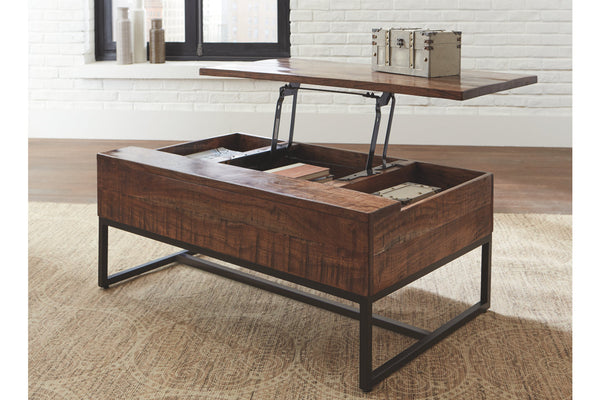 Modern mango wood storage coffee table with dark metal legs, top liftable