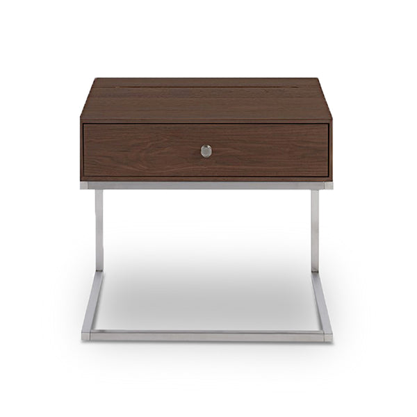modern walnut stained night stand with plug and USB port with Stainless Steel Base