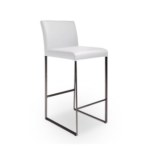 Black modern leatherette counter stool with stainless steel frame
