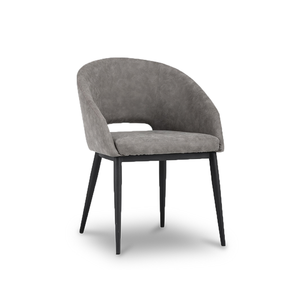 modern grey faux suede leather dining chair with black powder coated metal leg