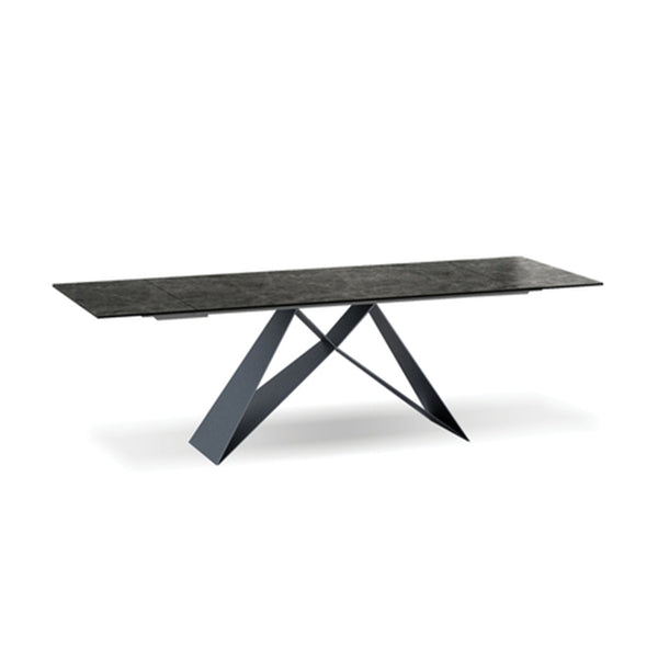 Modern Extension Table with ceramic marble top and black metal base