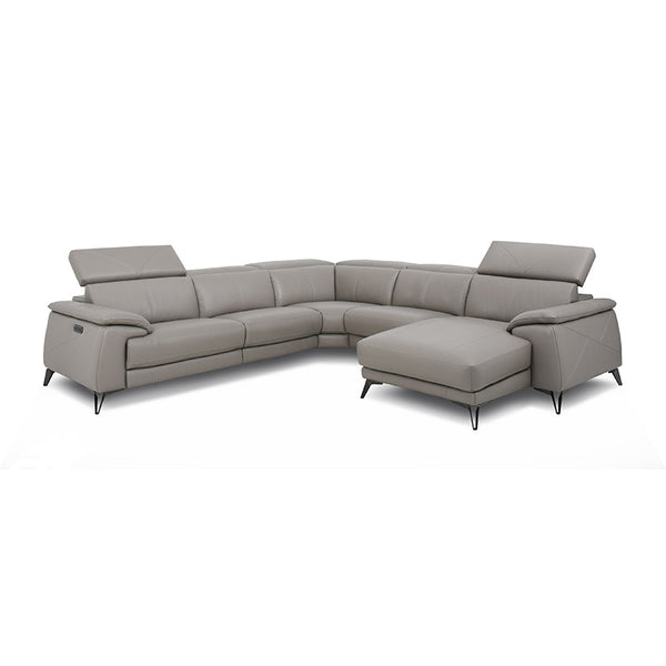 gunmetal grey modern leather reclining sectional with USB left hand facing