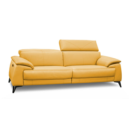 modern sunflower yellow leather sofa with adjustable headrests