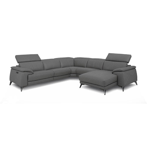 gunmetal grey modern fabric reclining sectional with USB right hand facing