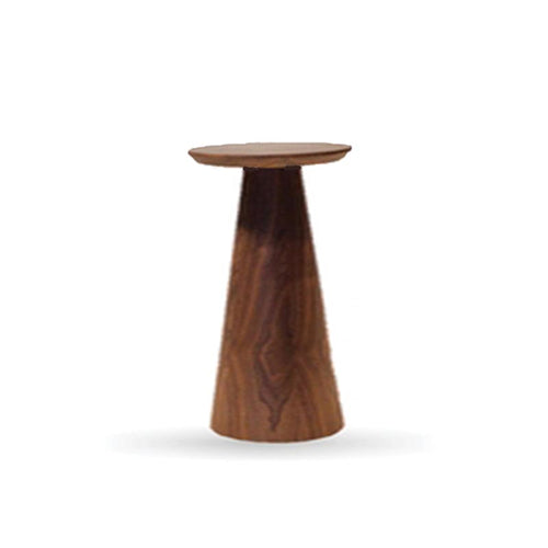 Walnut Pedestal End Table Low