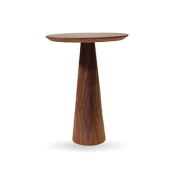 Walnut Pedestal End Table Tall