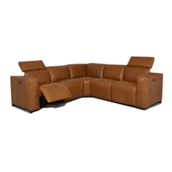 modern white split leather power reclining sectional with USB port and wood feet