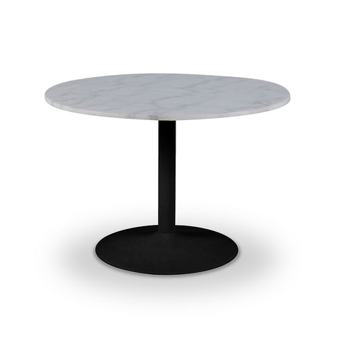 White Marble modern round dining table with matte black trumpet base
