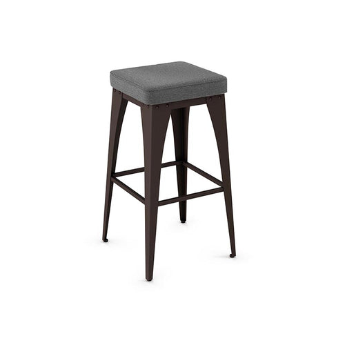 modern industrial rustic backless stool with upholstered seat