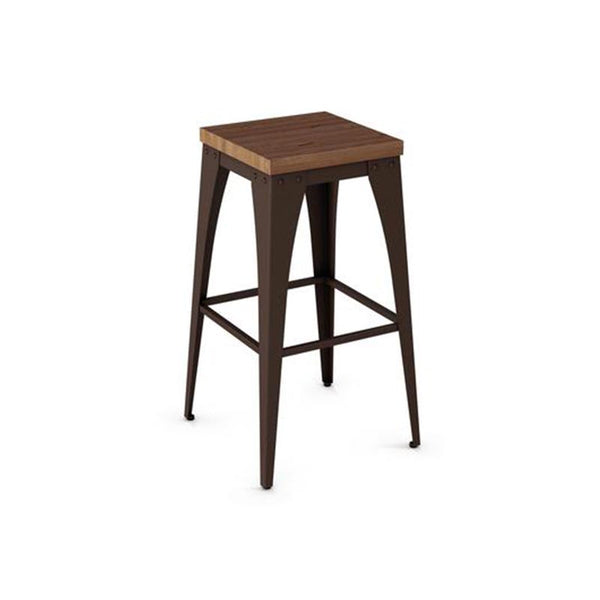 modern industrial rustic backless stool with wood seat