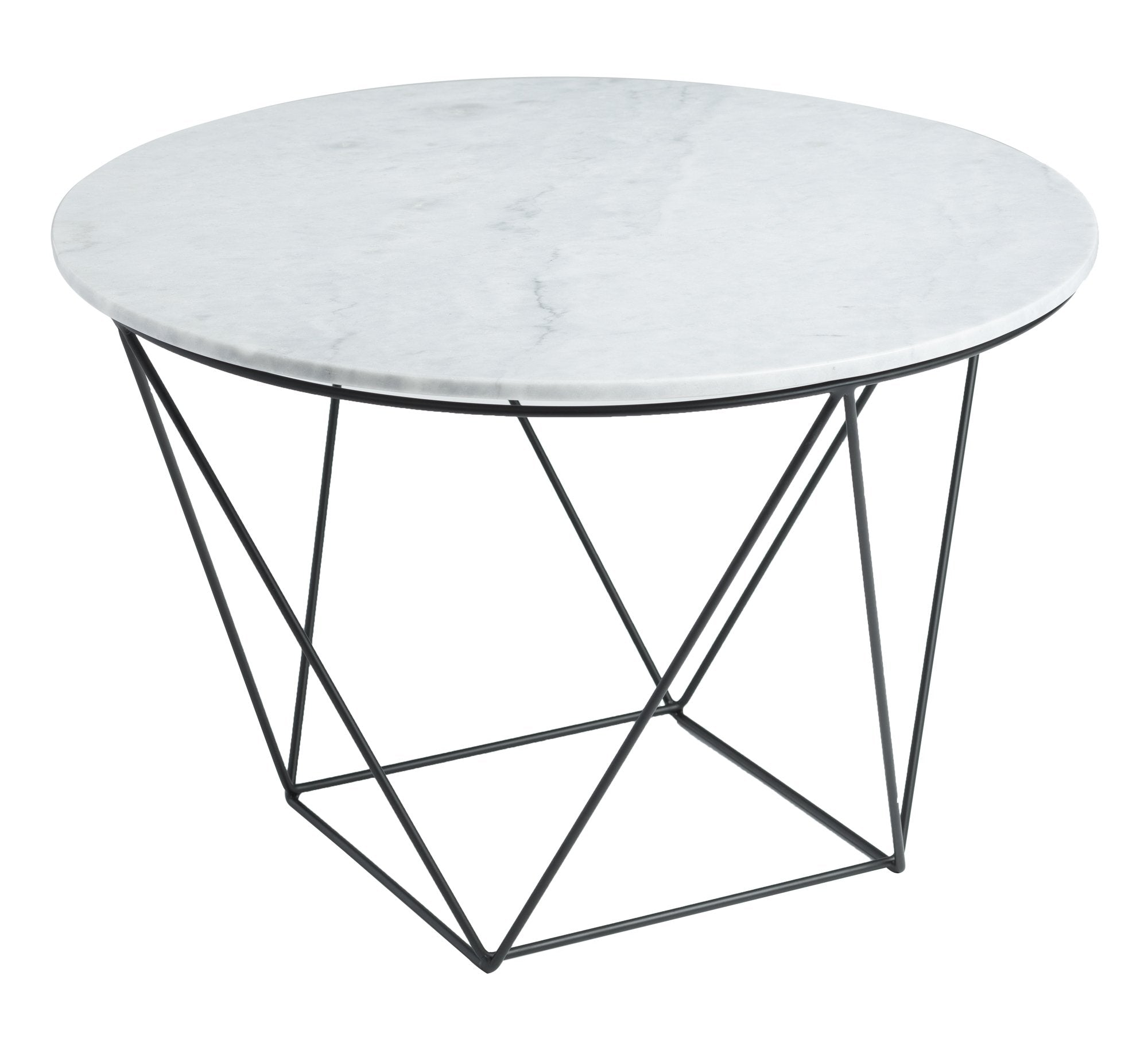 Picture of Valencia Round Side Table - White Marble/Black Matte