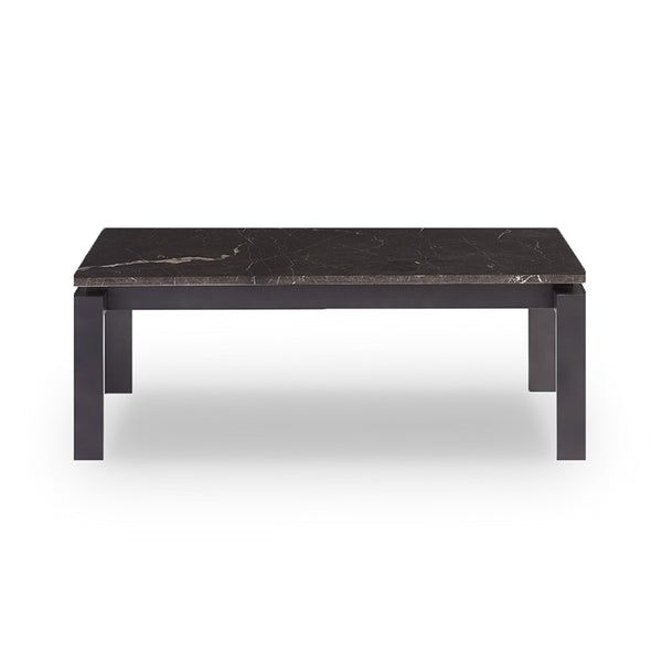 modern black marble topped coffee cocktail table with dark bronze base