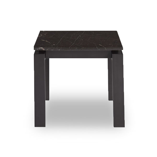 modern black marble topped end side table with dark bronze base
