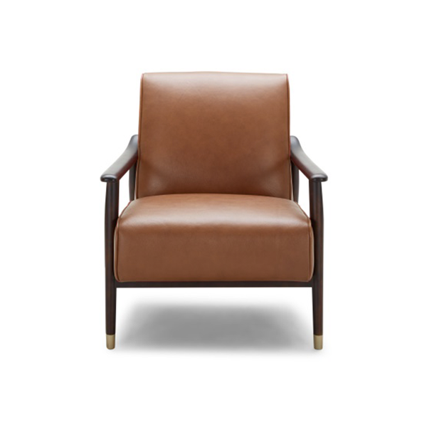 Modern Saddle Brown Top Grain Leather Arm Chair with Solid Wood Frame and Gold Capped Feet
