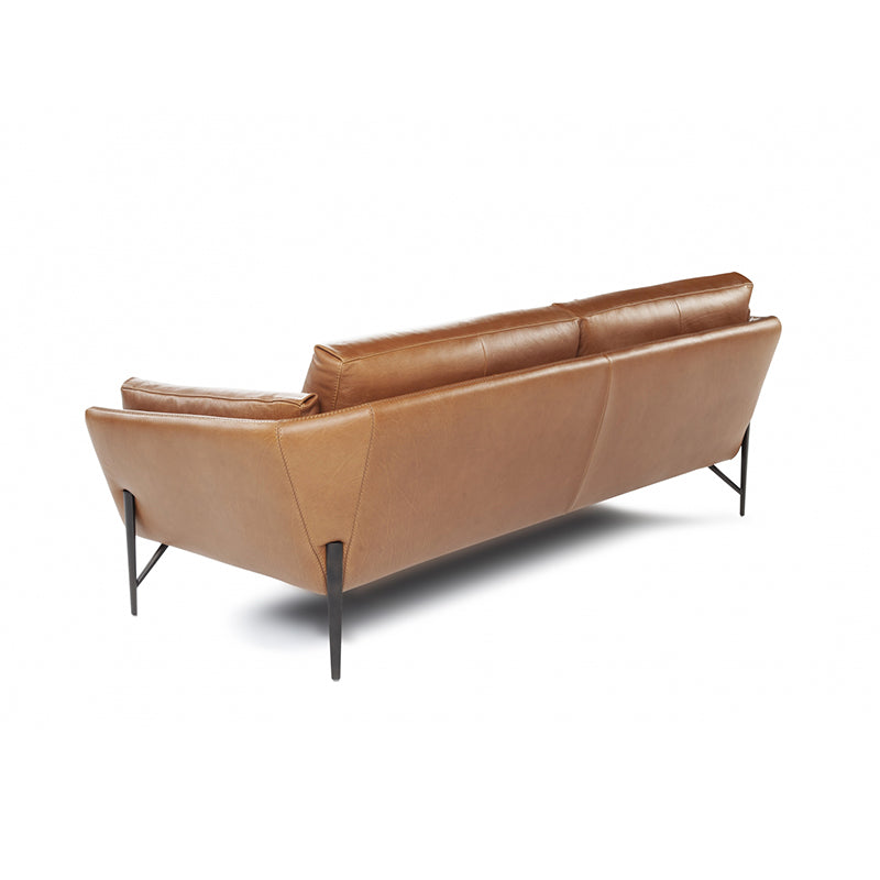 modern cognac leather sofa with metal pin leg
