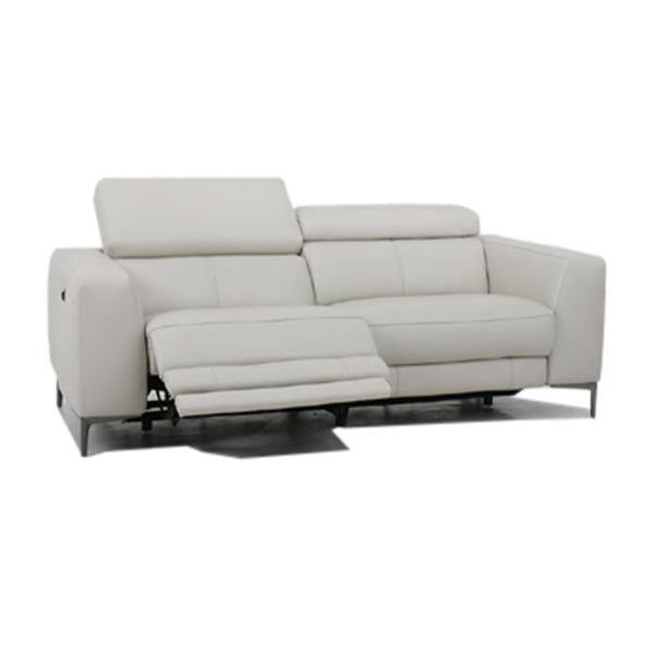 modern slate grey fabric power reclining sofa with adjustable headrests and black chrome nickel legs