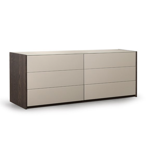 modern metal, glass and wood double dresser with 6 fabric lined drawers