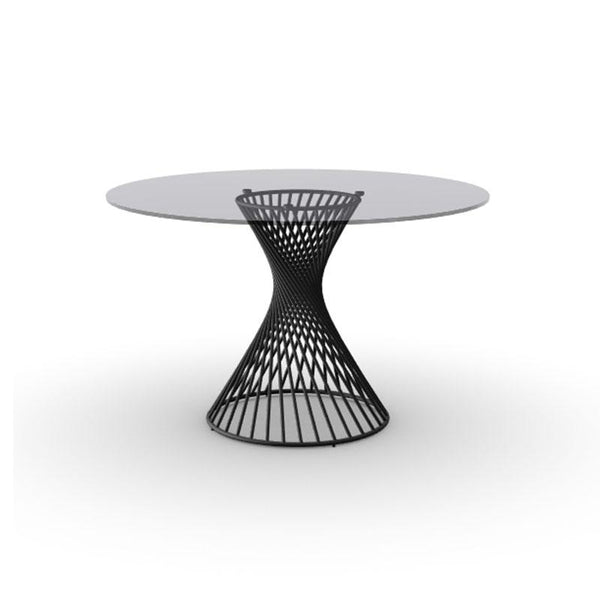 modern custom order round ceramic glass topped dining table with helical metal base
