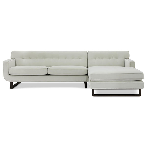 modern special buy oyster cream velvet fabric Left hand facing sofa chaise sectional with button tufting and black metal u leg