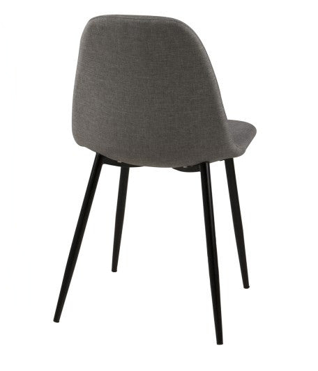 Modern Grey Fabric Upholstered Shell Seat Dining Chair with Black Angled Leg
