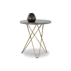 modern round concrete top end table with antique brass tripod base with hairpin legs