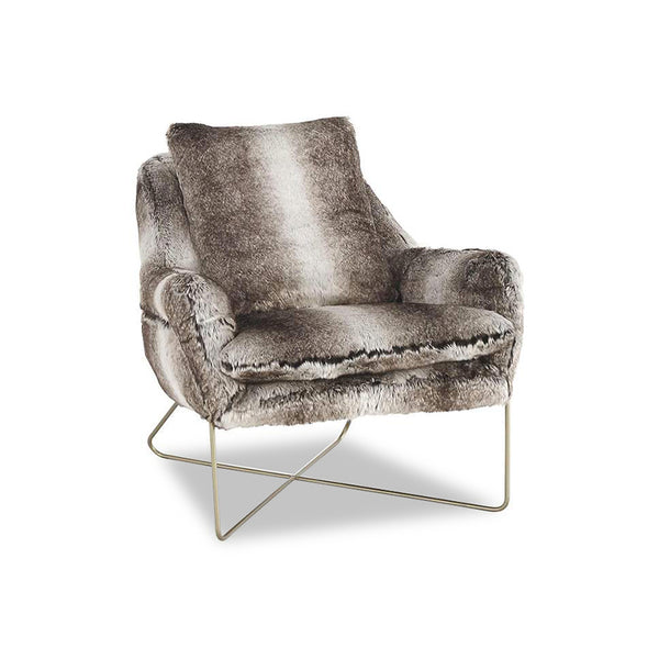 modern grey faux fur accent chair with metal cross base