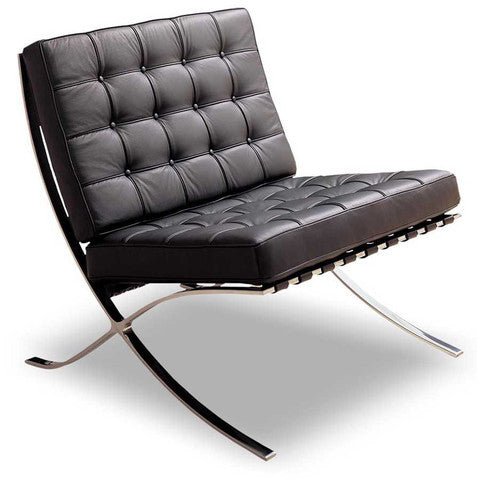 Black modern leather Barcelona chair with steel frame
