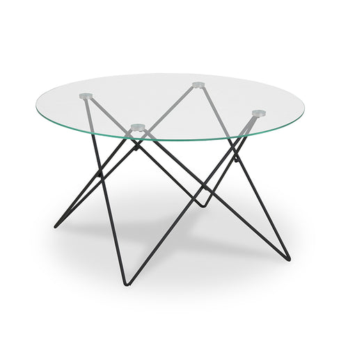 Modern Clear Glass Coffee Table with Matte Black Metal Hairpin base